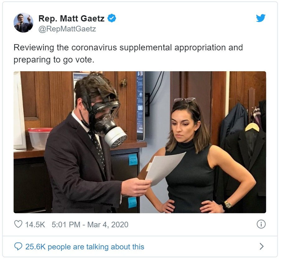 Rep Matt Gaetz wearing gas mask joking about coronavirus in Congress - randomnoob
